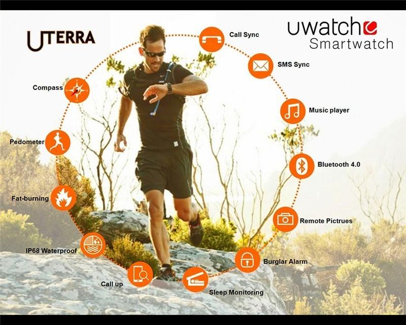 ถูก Ip68กันน้ำเข็มทิศบลูทูธsmart watch u watch ut u terra a ndroid smartwatchกันฝุ่นกันกระแทกกลางแจ้งกีฬานาฬิกาข้อมือ