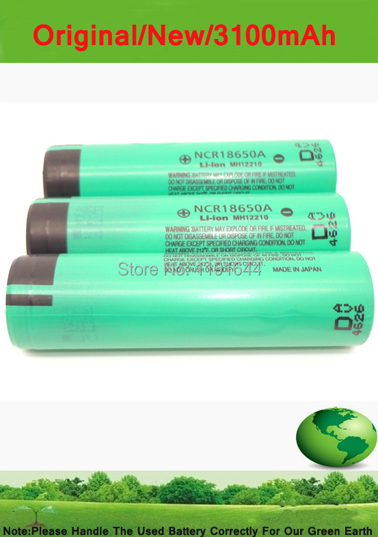 8PCS/LOT Genuine 3.7V 18650 NCR18650A 3100mAh high capacity rechargeable battery cell for panasonic +Free shipping!!(China (Mainland))