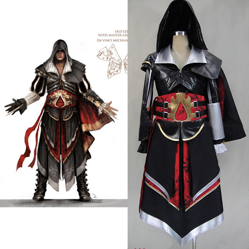 assassins creed 4 costume for boys ezio Altair Armor cosplay costume adult mens assassins creed hoodie jacket custom