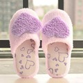 3 color Creative Design Women Floor Slippers Lady Home Use Indoor Girls Cotton Padded Heart Decoration