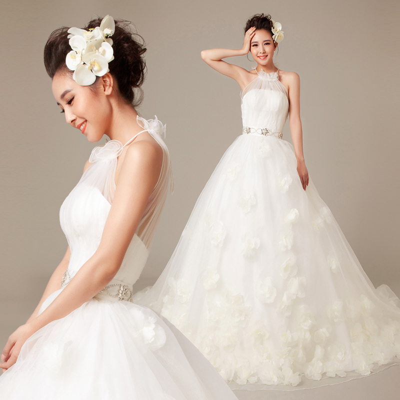 Mzyw0155 high neckline hand made flower vestido novia for Wedding dresses sale online