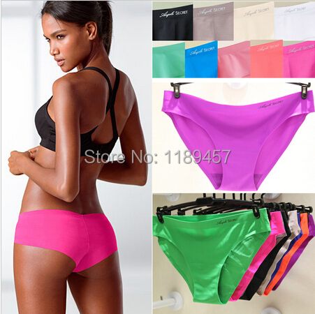 2014 Newest Women Low Waist Seamless Briefs 12 Color 2pcs/lot Candy Color Sweet Panties Letter Printed Panties M/L