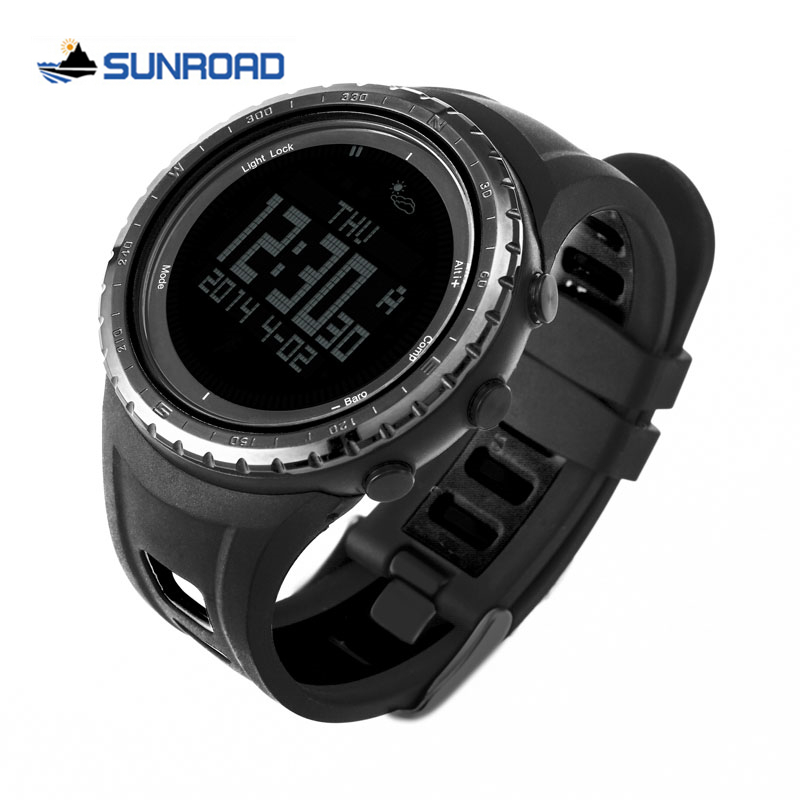 Sunroad FR801 5ATM Waterproof Altimeter Compass Stopwatch Fishing Barometer Pedometer Outdoor Sport Digital Watch Backlight