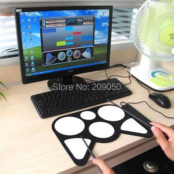 Retail Electronic USB Drum Pad Sticks Instruments Kit For PC