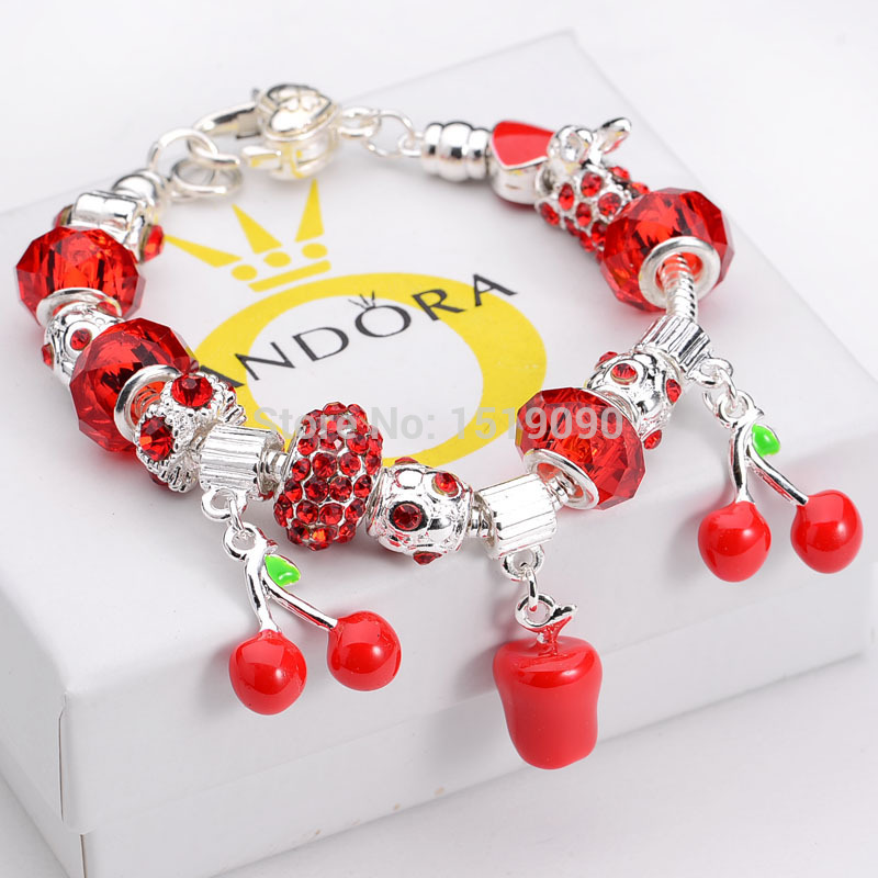 WHOLESALE 2015 New Product Glass Beads bracelet 925 Silver Bracelets & Bangles European cherry apple charm braclets for women(China (Mainland))