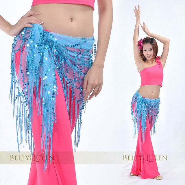 china post free shipping Belly dance paillette scarf hip fringed waist chain