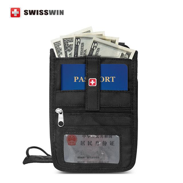 Swisswin владельца паспорта для мужчин и женщин карты с шеи ремень черный обложка ...