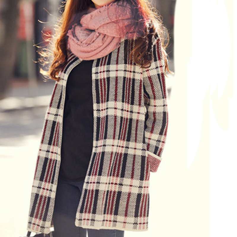 New Winter Vintage Plaid Pattern Women Cardigan Knitted Sweater Casual Gothic Oversize Long Sleeve Loose Coat(China (Mainland))