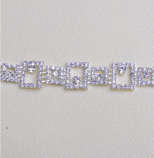 5 Yards Square Glass Bling Bling Bridal Rhinestone Trimming Silver Backing Trims(China (Mainland))