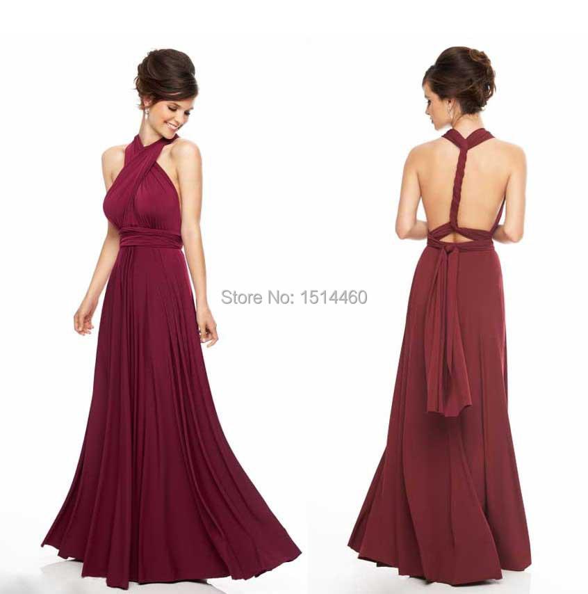 Custom made 2015 marsala burgundy chiffon halter long for Halter dress wedding guest