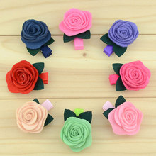 "baby girl hair accessories mini 1.5"" wool felt rose hair flower hair clip ribbon lined hairclip(China (Mainland))"