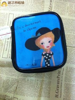 2013 brand new   girls  waterproof  pu  storage paper doll mate cosmetic bag makeup bag free shipping