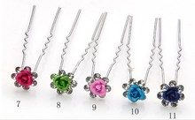 100pcs/lot Free Shipping Rose Flower Crystal Hair Pins, U shape Hair Clips. Party Prom Hair Accessories, Fashion Cheap Wholesale(China (Mainland))