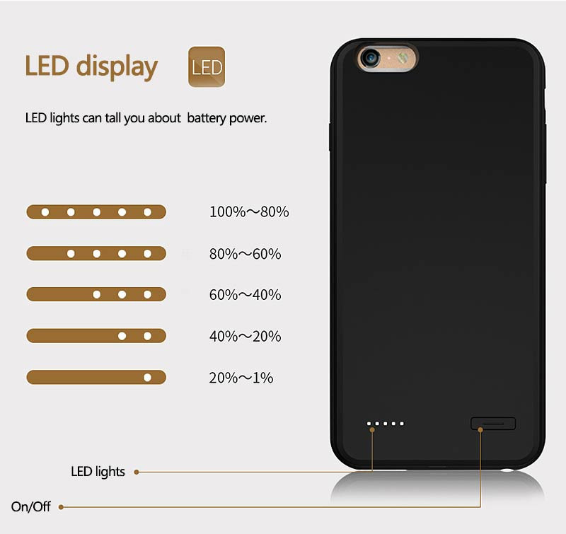 Rechargeable External Backup Battery Case for iPhone 6 6s Mobile Phone Charging Case for iPhone 6 6s Plus Power Case