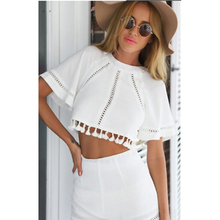 Buy 2016 New Women Summer Suits WhiteHollow Tassel Tops Set Beach Vacation 2 Piece Set Crop Top Shorts Sexy Women's Clothes Sets for $11.21 in AliExpress store
