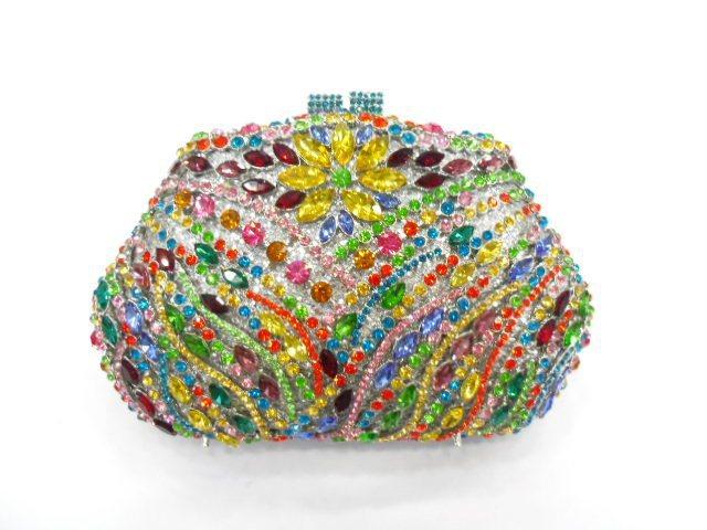 265B Crystal floral flower Wedding Bridal Party Night hollow Metal Evening purse clutch bag handbag