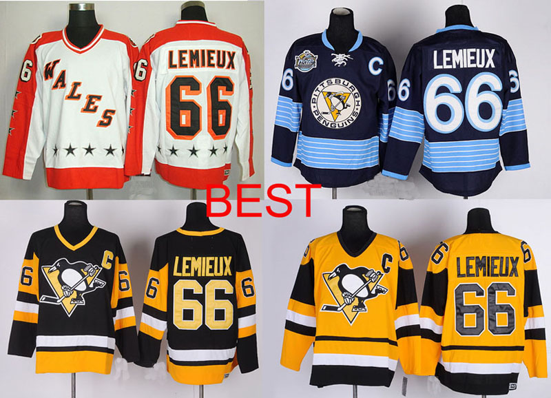 All Star Pittsburgh Penguins #66 Mario Lemieux Jersey White,Winter Classic navy blue Ice hockey jersey,Vintage black yellow(China (Mainland))