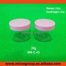 Hot 100PCS 20ml 20g round plastic cosmetic jars, empty cosmetic cream jar 20g, sample plastic jars for cosmetics container