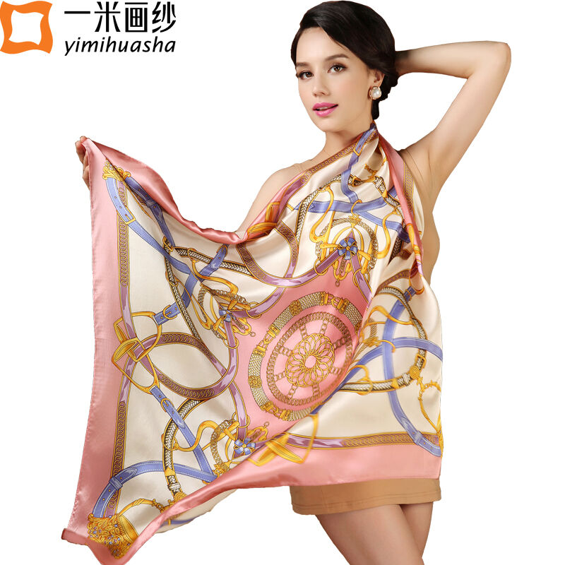 2016 Euro brand designer silk scarf Luxury Brand large square scarves pink color large size bandana foulards soie 90*90 cm satin(China (Mainland))
