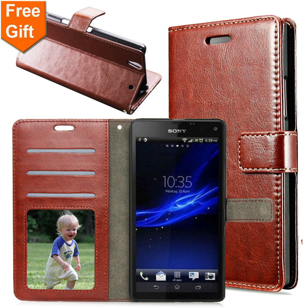 """C3 5.5"""" Retro Crazy Horse Pattern Flip Wallet Sony Xperia C3 Case PU Leather Cover Sony C3 Sony S55T S55U D2533 D2502"""