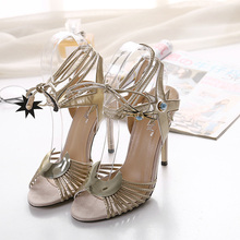 2016 new summer shoes woman sandals  moon  charm sexy high thin heels peep toe ankle strap sandals shoes for women  party shoes