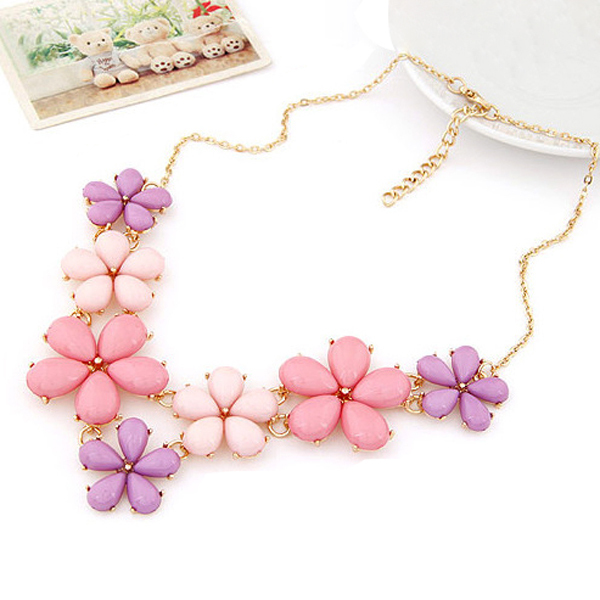 Big Sun Flower Statement Necklace 2015 Pink Blue Colorful Gold Choker Chain Resin Pendant Necklaces For