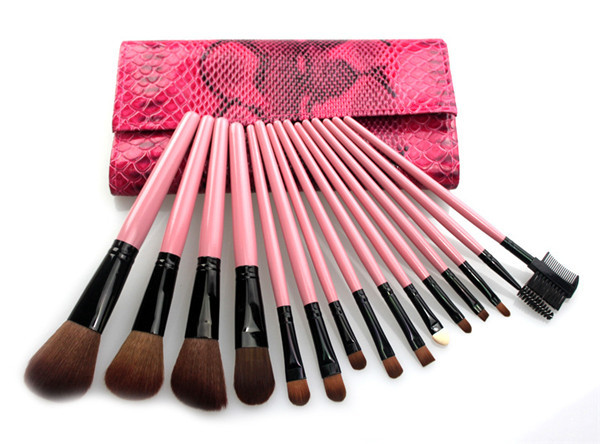 15 Pieces Pink Case Profession MakeUp Cosmetic Set Eyeshadow Foundation Brush Blending Tools(China (Mainland))