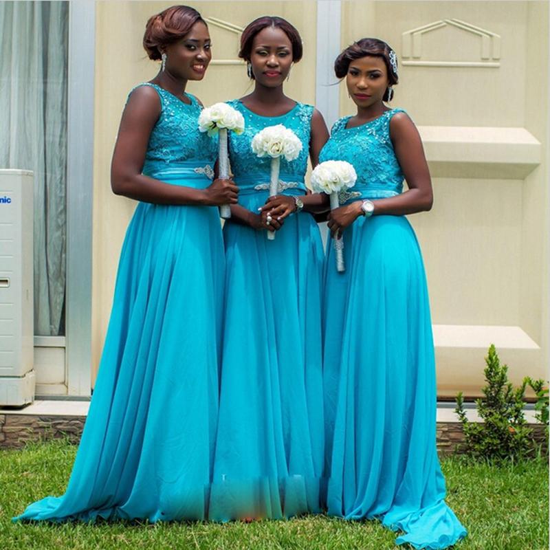 Blue Wedding Dress Simple : Fashion simple blue bridesmaid dresses elegant scoop appliques