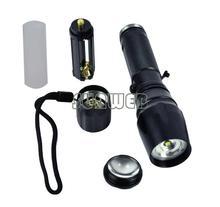 1600 Lumen CREE XM-L T6 Zoomable LED Flashlight Torch 12W Lamp Light Black Free Shipping 36(China (Mainland))
