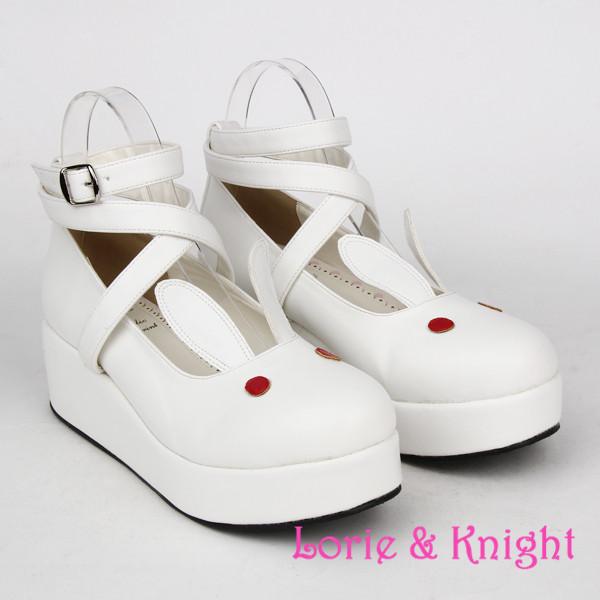 SUPER Lovely White Rabbit Ears Lolita Princess Platform Heels Shoes Comfortable Round Toe Cos Shoes