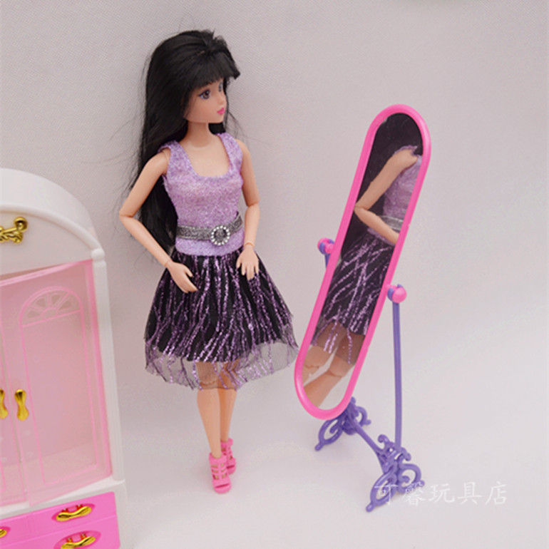 Free Delivery,doll furnishings Wardrobe + Coat hanger  +Mirror3 equipment for Barbie Doll,woman play home