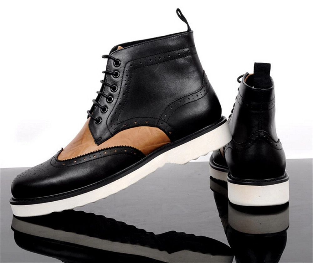 Fashion Punk style Brown tan /black mens casual shoes round toe genuine leather ankle boots mens outdoor shoes free shipping<br><br>Aliexpress