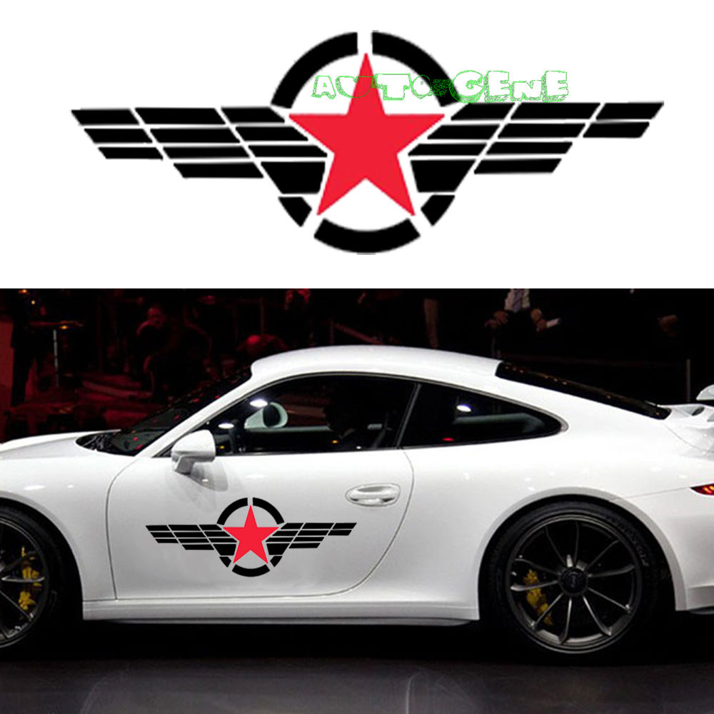 Sticker design for black car - 2 Large Military Symbol Red Star Black Stripe Windshield Vinyl Car Sticker Decal China