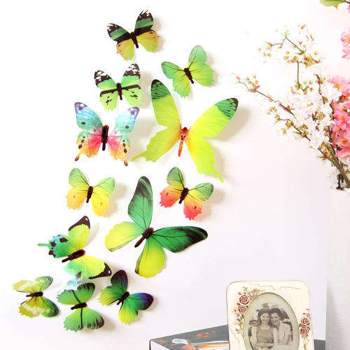 12 Pcs/Lot PVC 3D Wall Stickers DIY Animal Butterfly Pattern Multicolors Fridge Magnet  Stickers Home Decoration Accessories Hot
