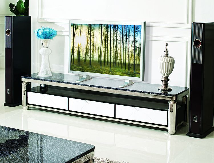 high quality Tv stand Tv table living room furniture stainless steel with marble top Tv table home furniture E350(China (Mainland))