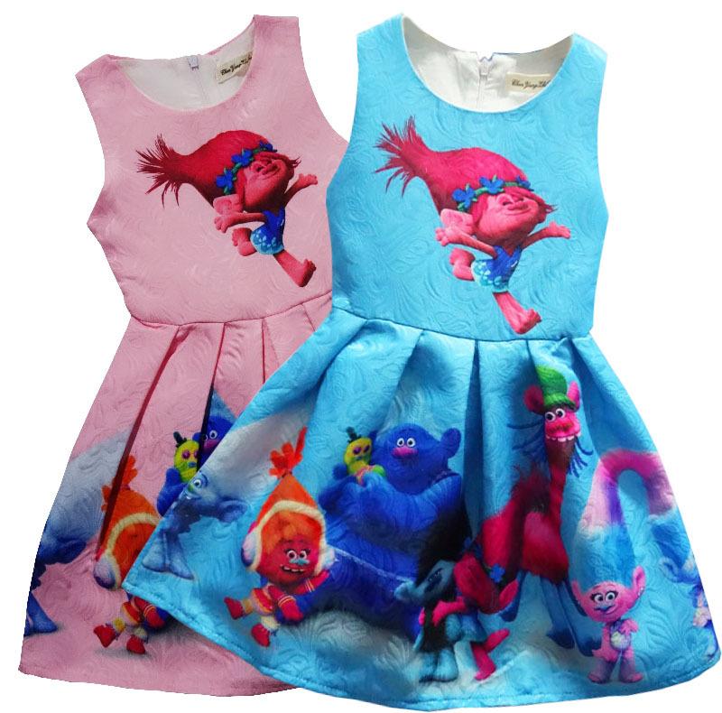 2017 Baby girl dress TROLLS magic cartoon summer cotton child dress kids clothes wear children dress baby girls clothes H622