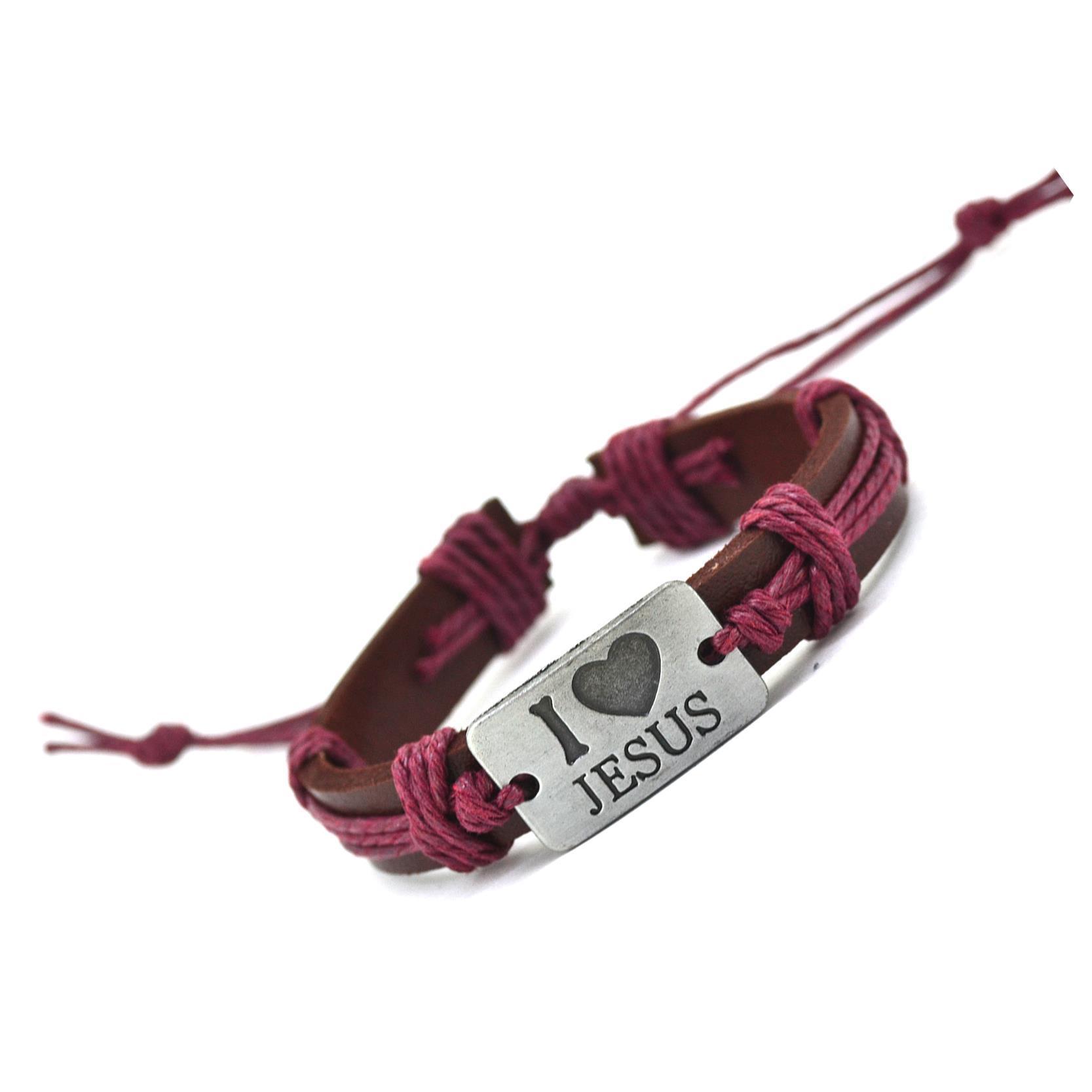 New Fashion Vintage Genuine Leather Bracelets Bangles I Love Jesus Rope Bracelet for Women Men Jewelry