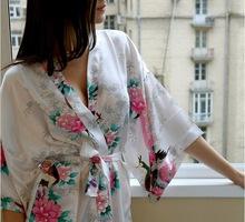 White Fashion Women's Peacock Kimono Bath Robe Nightgown Gown Yukata Bathrobe Sleepwear Pocket With Belt S M L XL XXL XXXL(China (Mainland))