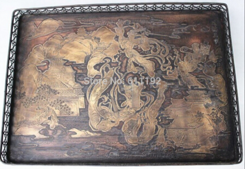 Chinese collection of ancient hand-carved Pavilions building and fairies pattern copper tray(China (Mainland))