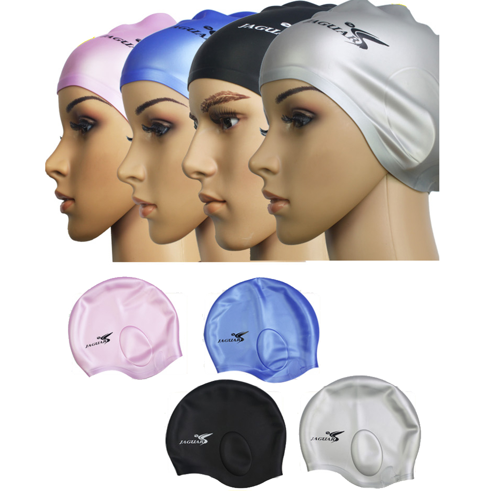 General Pure Color Silicone Swimming Cap Ear Protection 4 Colors Optional Thickening Silica Gel Men Women Swimwears Swim(China (Mainland))