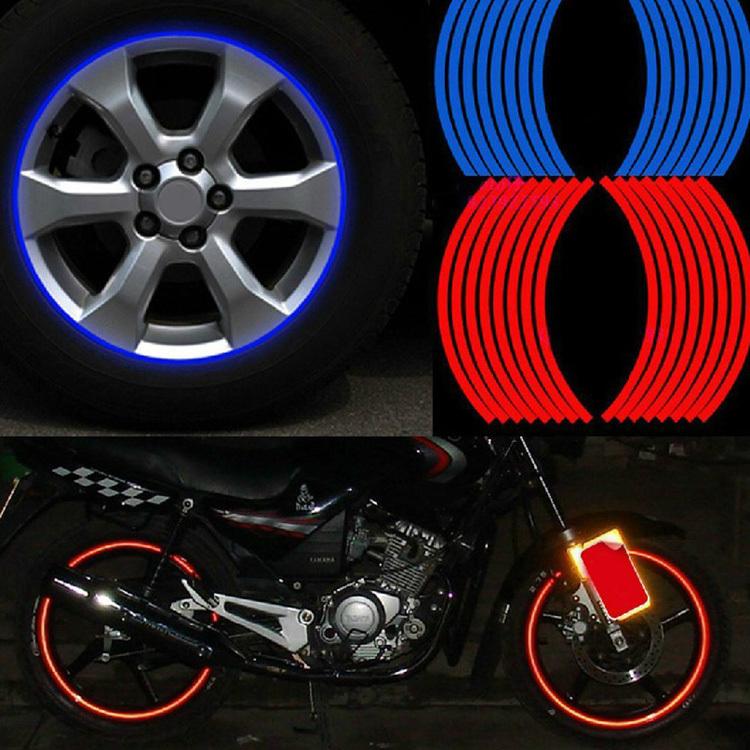 2015 hot sale new Polyethylene Terephthalate Wheel Sticker Reflective Rim Stripe Tape Bike Motorcycle Car free shipping CAR-0052(China (Mainland))