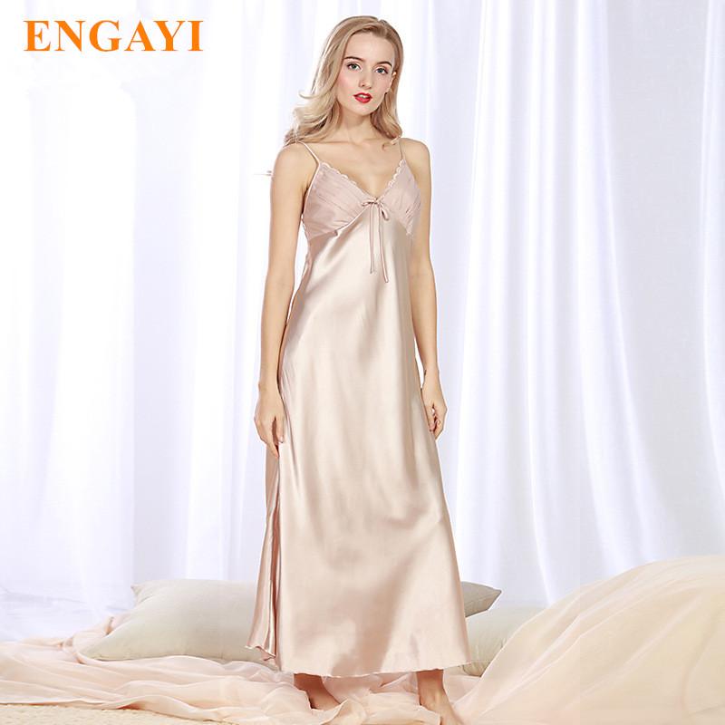 ENGAYI Brand Plus Size Women Summer Night Dress Long Nightgown Silk Satin Nightdress Night Gown Lace Sexy Lingerie CQ311(China (Mainland))