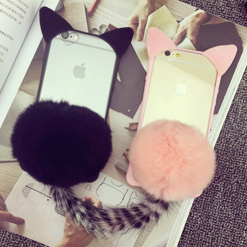 Creatively design Plush decorate Lanyard Silica gel Cat ears prevention fell Mobile case phone shell for 6 6splus(China (Mainland))