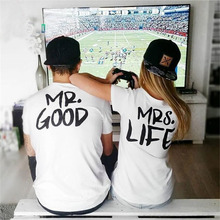 2016 MR MRS Couple T Shirt Femme GOOD LIFE Print Lover T-Shirts Tee Shirt Instagram Tumblr Casual Tops Camisetas Mujer T-F11164