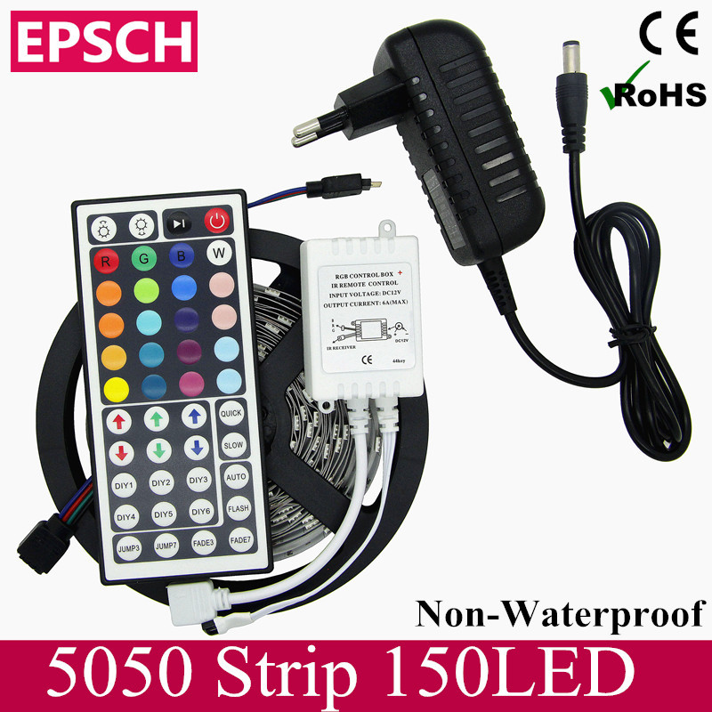Super Affordable 5M RGB LED Strip SMD 5050 30LED/M Flexible Non Waterproof 150 LED 44key Remote Controller 12V 3A Power Adapter(China (Mainland))