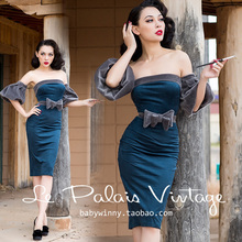 FREE SHIPPING Le Palais Vintage 2016 New Elegant Dark Blue Suede Imitation Mink Hair Puff Middle Sleeve Strapless Dress Women