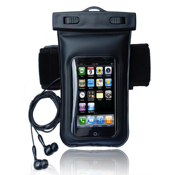 New Black Waterproof Phone Cover Dry Arm Case Bag with Earphone for Smart phone MP4 Samsung Iphone(China (Mainland))