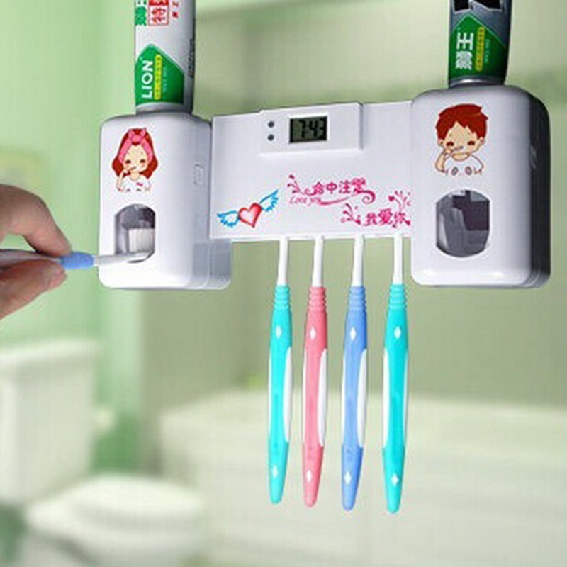 Toothpaste Dispenser + 5 Toothbrush Holder Set Wall Mount Stand With Clock(China (Mainland))