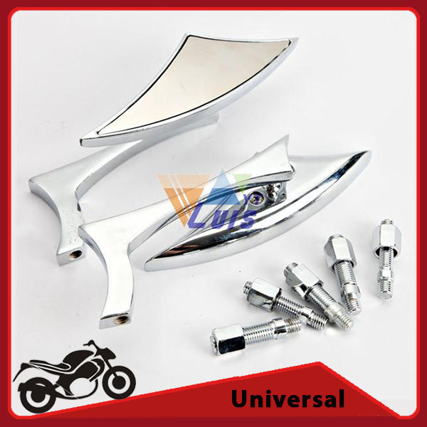 Universal Chrome Arrow Shape Chopper Motorcycle Rearview Side Mirrors For Harley Honda Ducati Suzuki Aluminum & ABS(China (Mainland))
