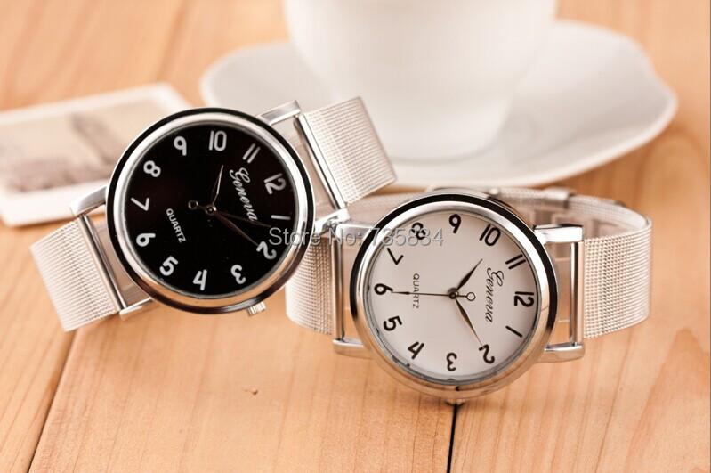 Здесь можно купить  Wholesale 50pcs/lot Mix 2Colors Quartz Casual watch Bright Gold band watch Brand Metal Mesh Stainless Steel Geneva watch GW188  Часы